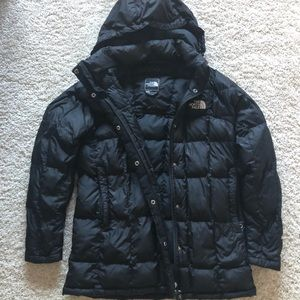 North face black quilted jacket